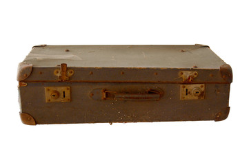 Vintage old leather suitcase isolated on white.