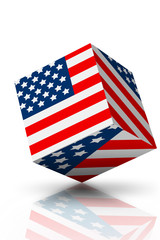A Cube American flag on white with shadows