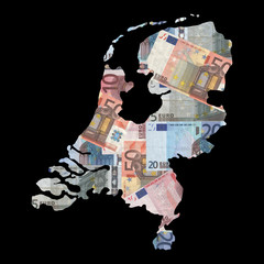 Map of Netherlands with euros
