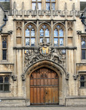 ornate gate with coat of arms, order of the garter, Oxford poster