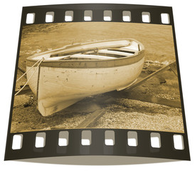 Black and white photo of row boat