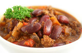 Colorful and spicy chili con carne ready to serve. poster