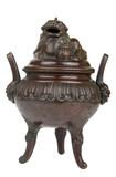 Ancient bronze incense burner with Foo Dog on lid poster