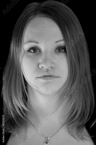 Russian young girl in black and white