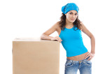 Attractive woman with box making a removal poster