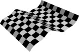 three-dimensional black and white flag poster