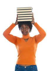 African american woman with books on her head