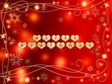 3d golden hearts, red letters, text - happy birthday, stars poster