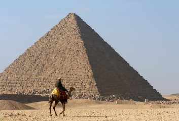 Bedouin on camel near of pyramid in Egypt
