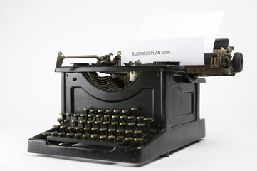 An old ancient typewriter used to write a 2008 businessplan.