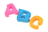 ABC color alphabets on white background poster