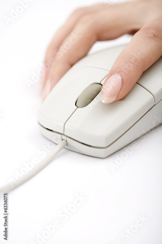 woman holding  a white mouse