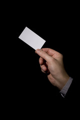 a businessman  holding a business  card 2