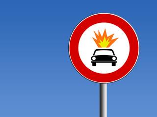 Segnale divieto trasporti pericolosi