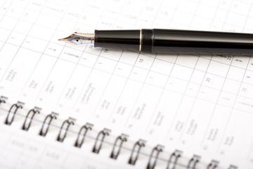 an expensive pen on an agenda 1