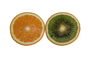 Orange and kiwi on white background