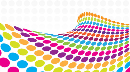 3D Halftone colorful retro dots forming a wave