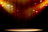 Curtain background with spotlights poster