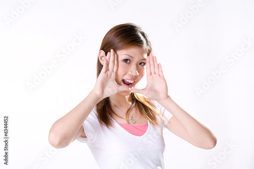 expressive girl with palm out on her face