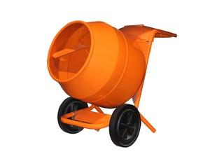 A Bright Orange Cement Mixer.