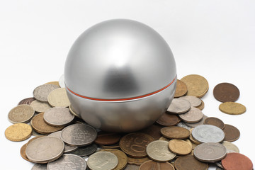Silver ball and coins