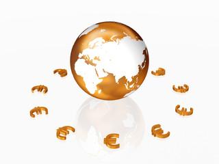 3d golden euros signs around the golden Globe