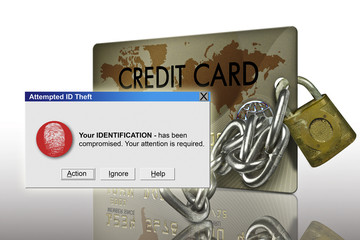 typical plastic credit card with identity theft warning