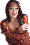 The singer with a microphone on a white background poster
