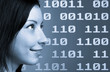 Woman face over a binary  techno background.