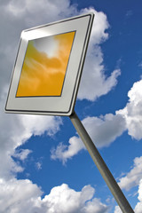 traffic sign over the blue sky