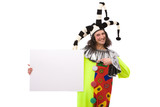 funny joker portrait with blank board on white background poster