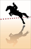 Vector silhouette - equestrian sport: show jumping poster
