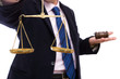 law concept with scales of justice and gavel on white