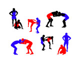 Wrestling vector silhouettes  poster