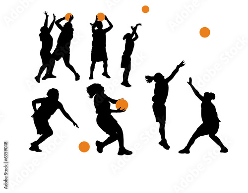 silhouettes of women. Women#39;s Basketball Vector