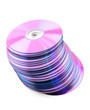 Falling heap of purple CDs or DVDs. White background, no dust.