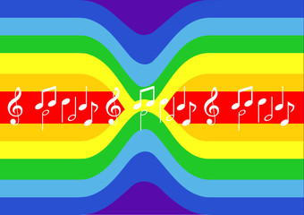 rainbow pattern and musical notes