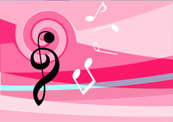 musical notes on pink pattern background