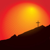 Easter inspired illustration of a cross on a mountain poster