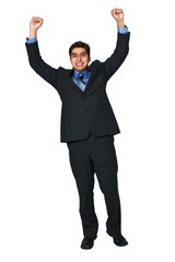 Man raising arms