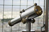 view of monocular telescope at eiffel tower, paris, france poster