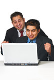 Thrilled business men in investment poster