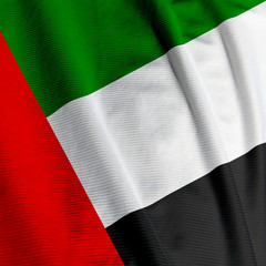 Closeup of the flag of the United Arab Emirates, square image
