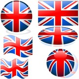 United Kingdom Set - flags collection with glass effect poster