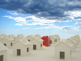 3D houses with clouds