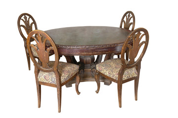 Table with chairs of 18 century. German  craftsmanship