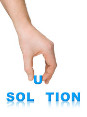 Hand and word Solution, business concept