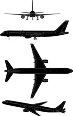 Silhuetas of commercial aircraft Vector, illustration