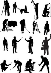 Silhouettes of people of different trades
