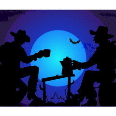 Cowboy Silhouette Illustration
